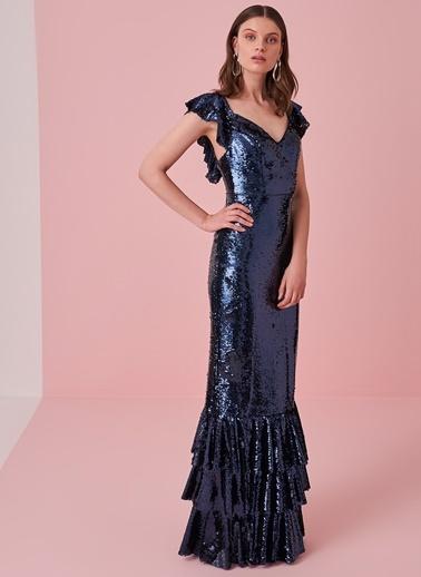 morhipo x dcey Volan Detaylı Uzun Payet Elbise